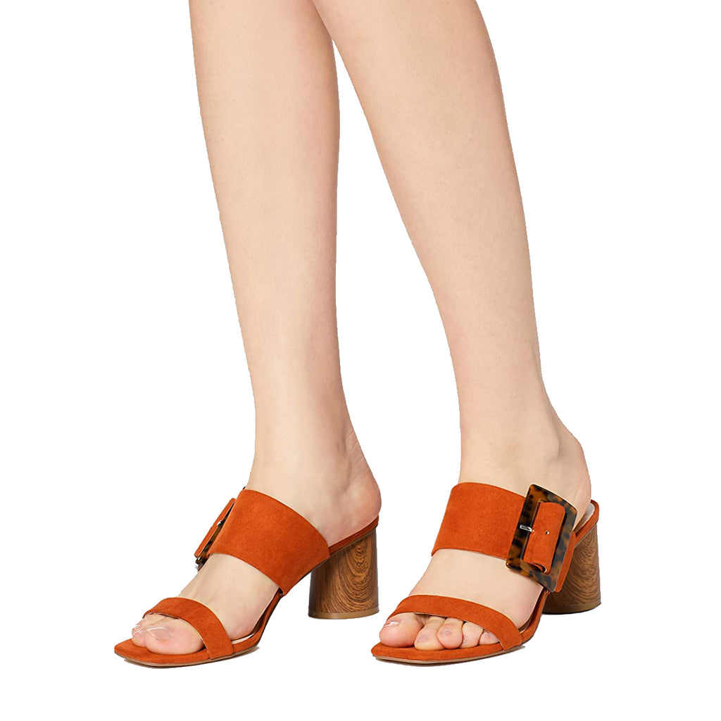 Orange Buckle Open Toe Block Heel Mule Sandals
