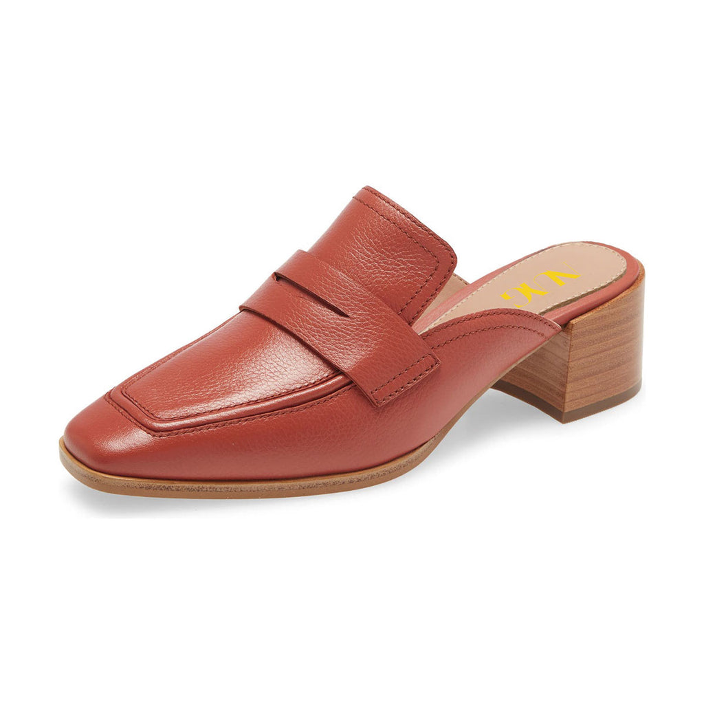 Orange Square Toe Block Heel Loafers Mule Sandals