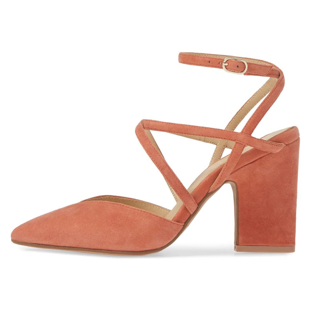 Orange Suede Ankle Strap Chunky Heel Pumps