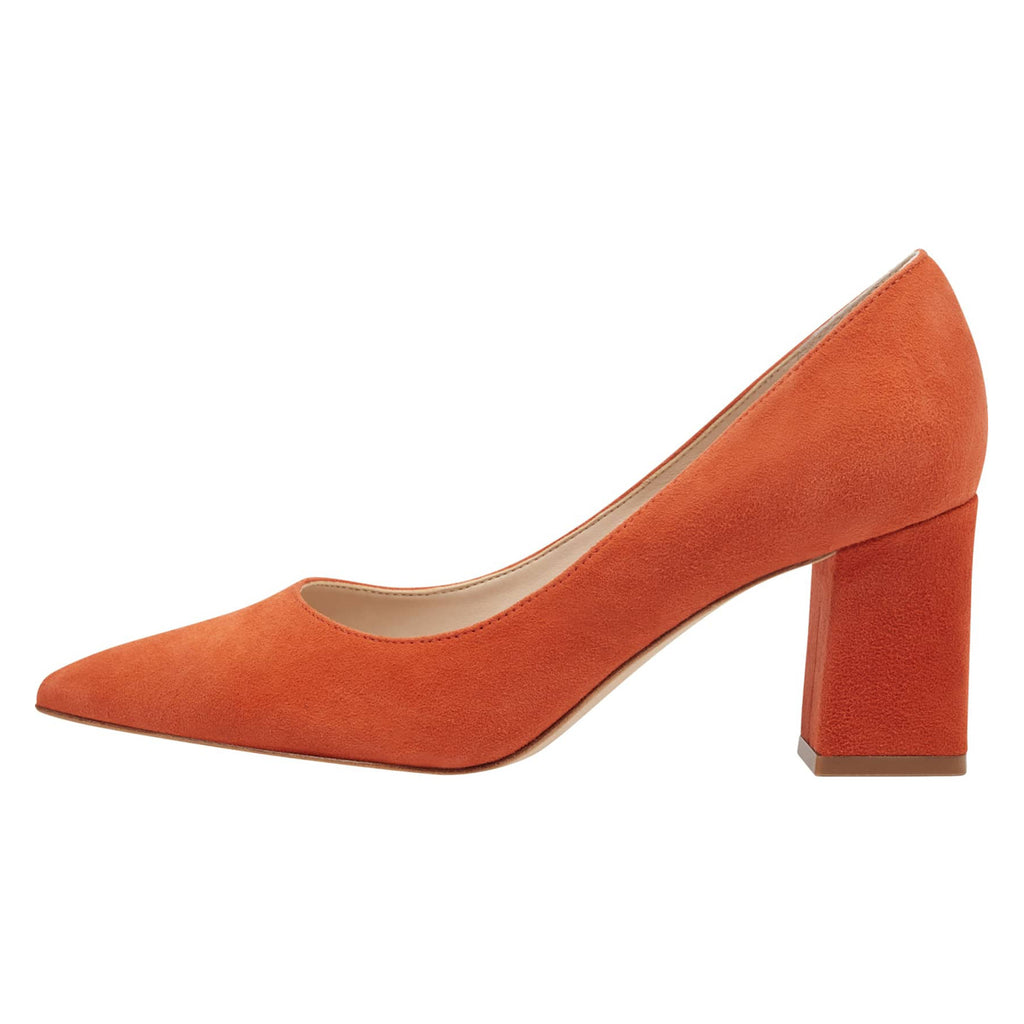 Orange Suede Pointy Toe Chunky Heel Pumps