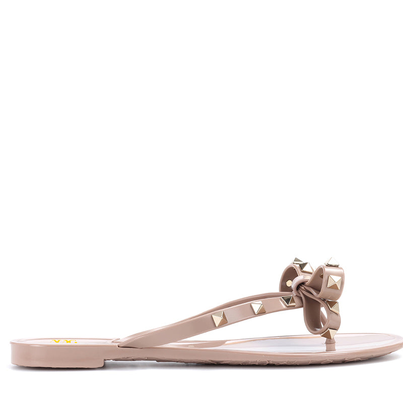 Pink Bow Rivets Flats Mule Sandals