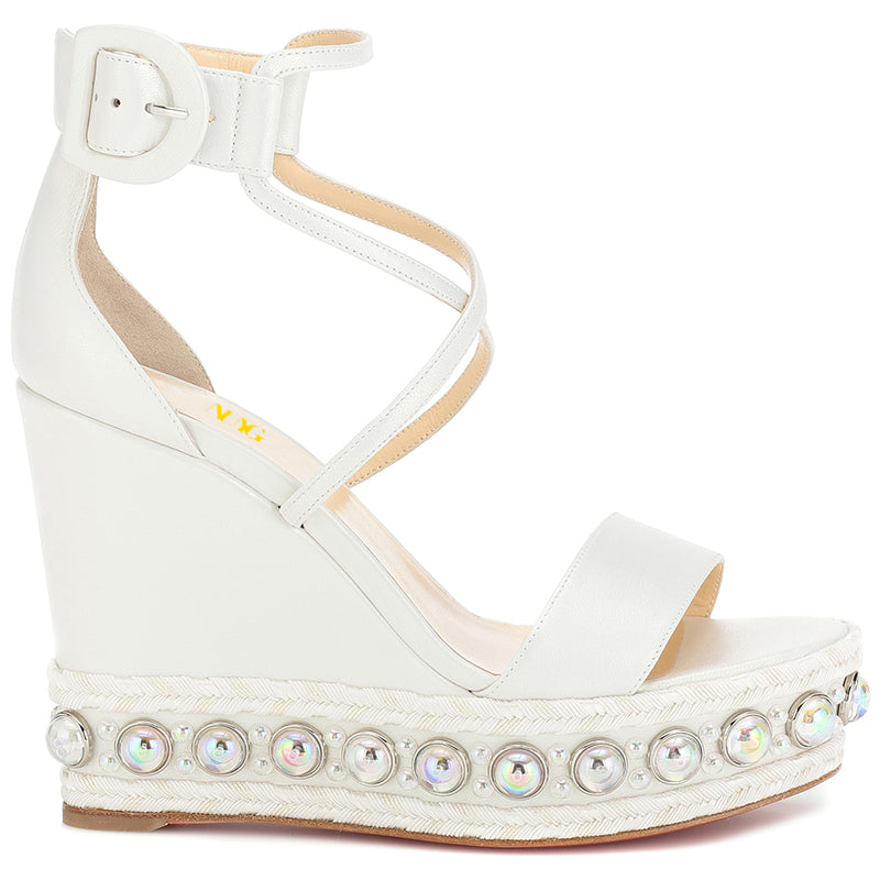 White Ankle Strappy Platform Wedge Heel Sandals