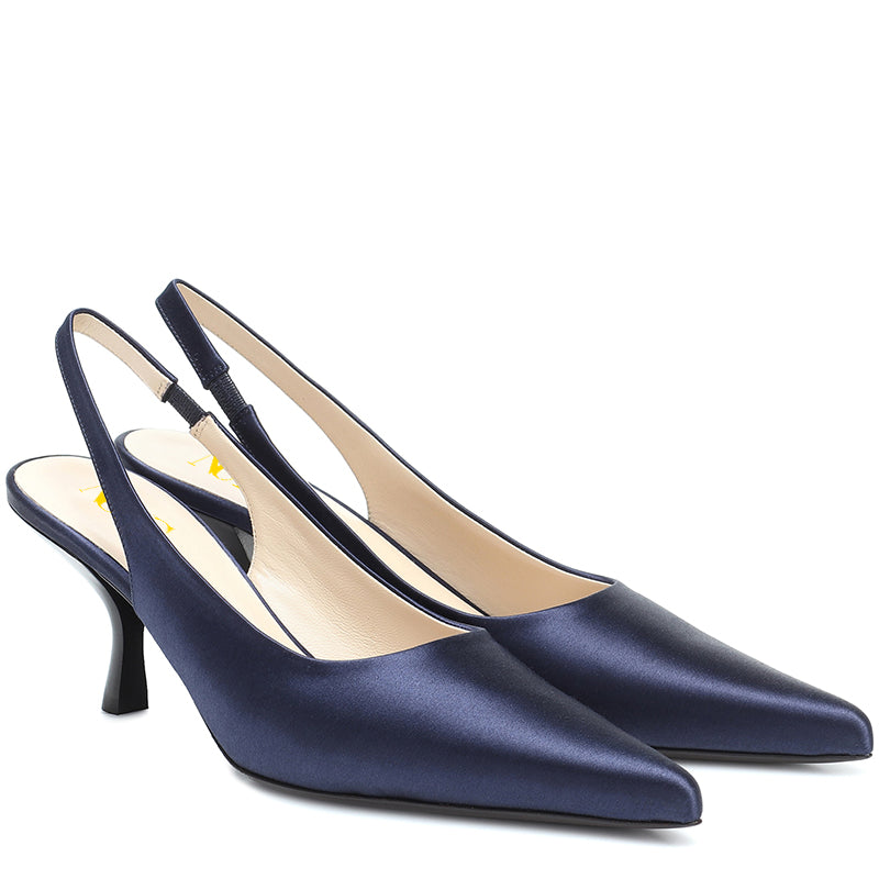Blue Satin Commuting Kitten Heel Pumps