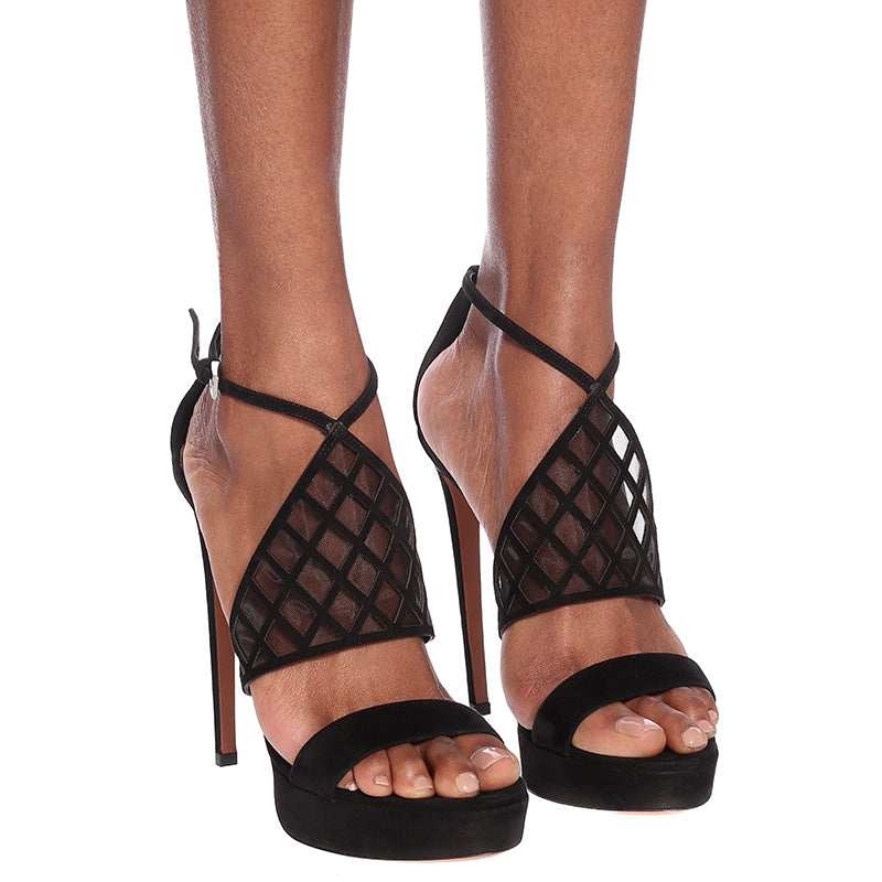Black Mesh Ankle Buckle Stiletto Heel Sandals