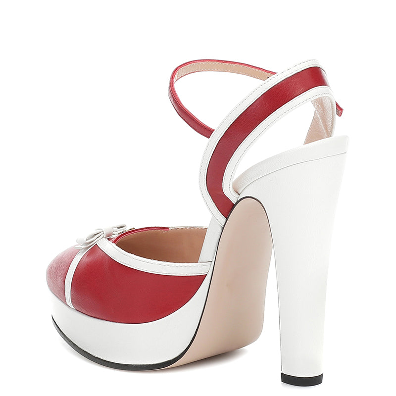 Red and White Bow Chunky Heel Pumps