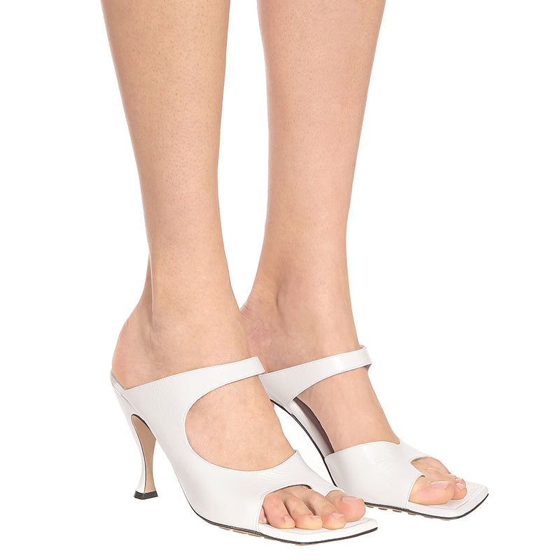 White Square Toe Stiletto Heel Sandals