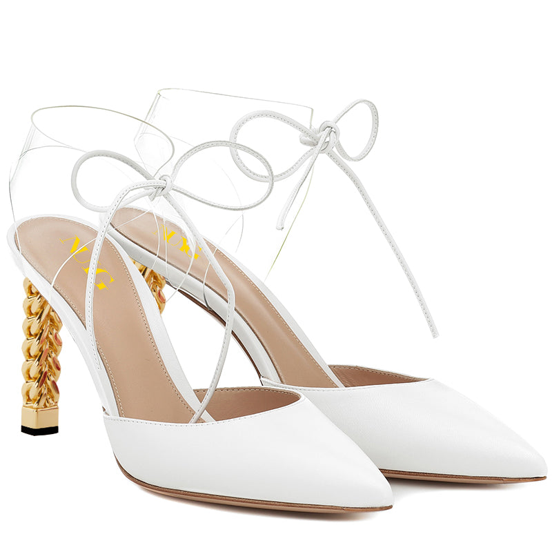 White Lace Up Sculptural Heel Pumps