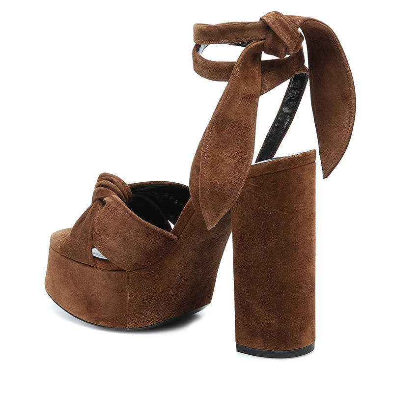 Brown Suede Ankle Strappy Platform Chunky Heel Sandals