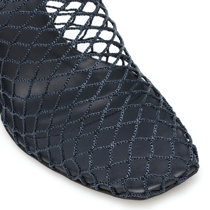 Black Nets Chunky Heel Mule Sandals