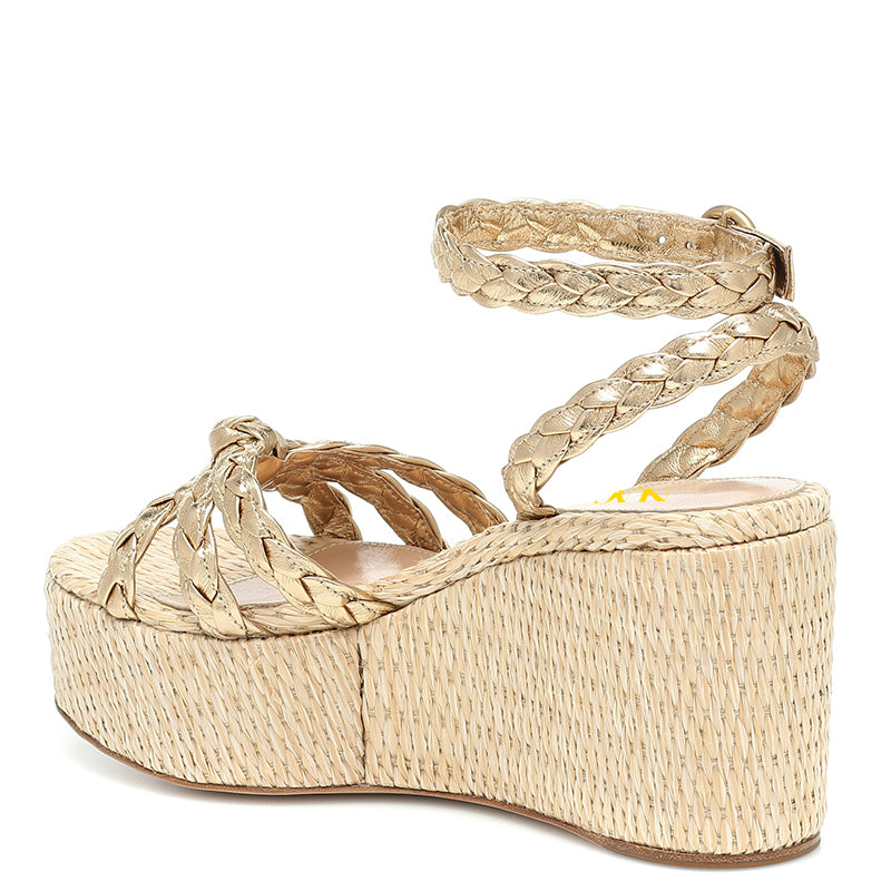 Champagne Ankle Strappy Platform Wedge Heel Sandals