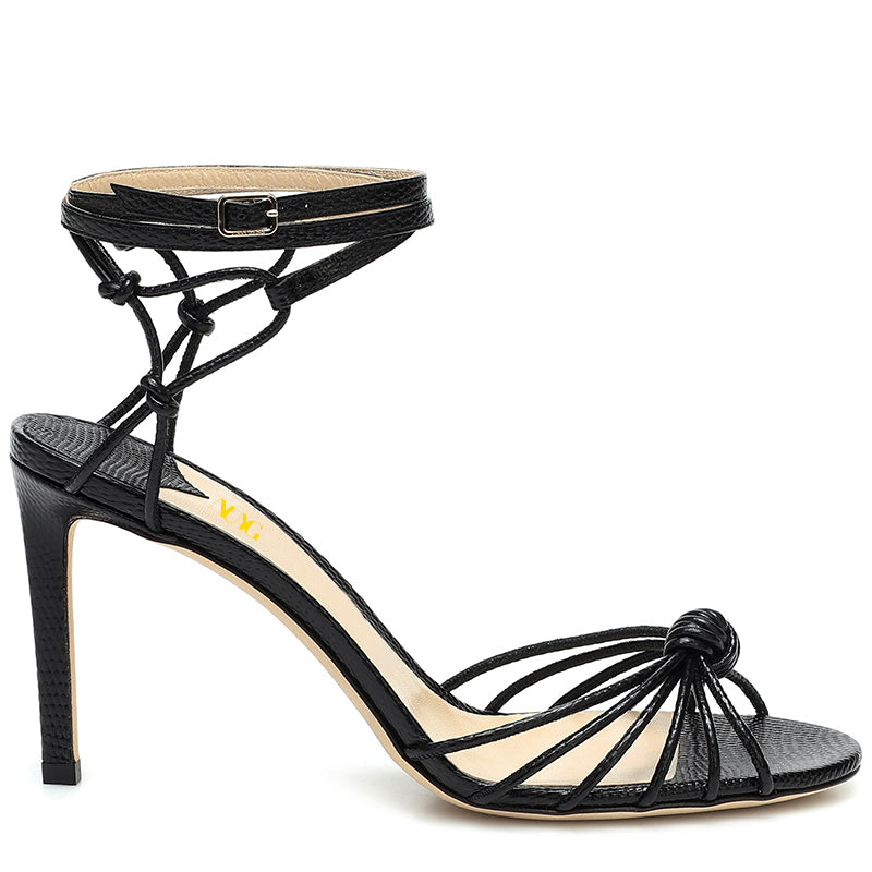 Black Commuting Stiletto Heel Sandals