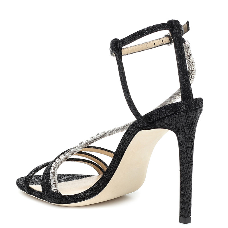 Black Rhinestones Stiletto Heel Sandals