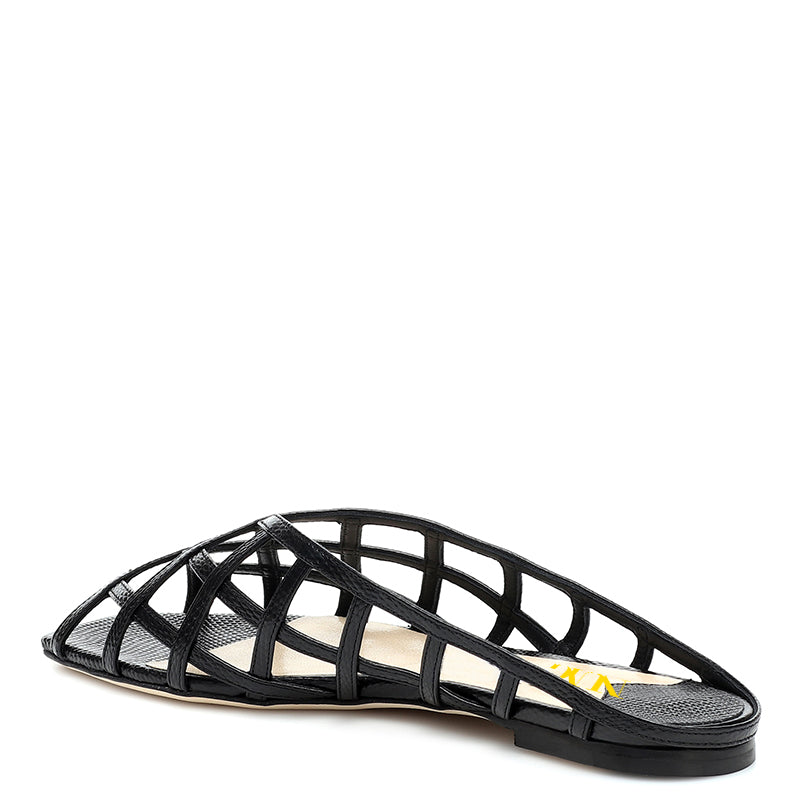 Black Flats Commuting Mule Sandals