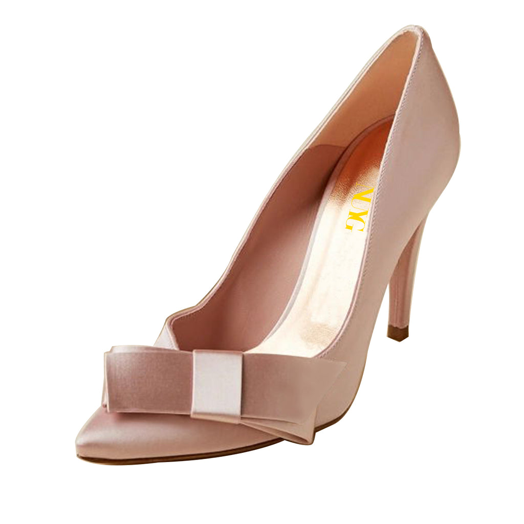 Pink Bow Pointy Toe Stiletto Heel Pumps