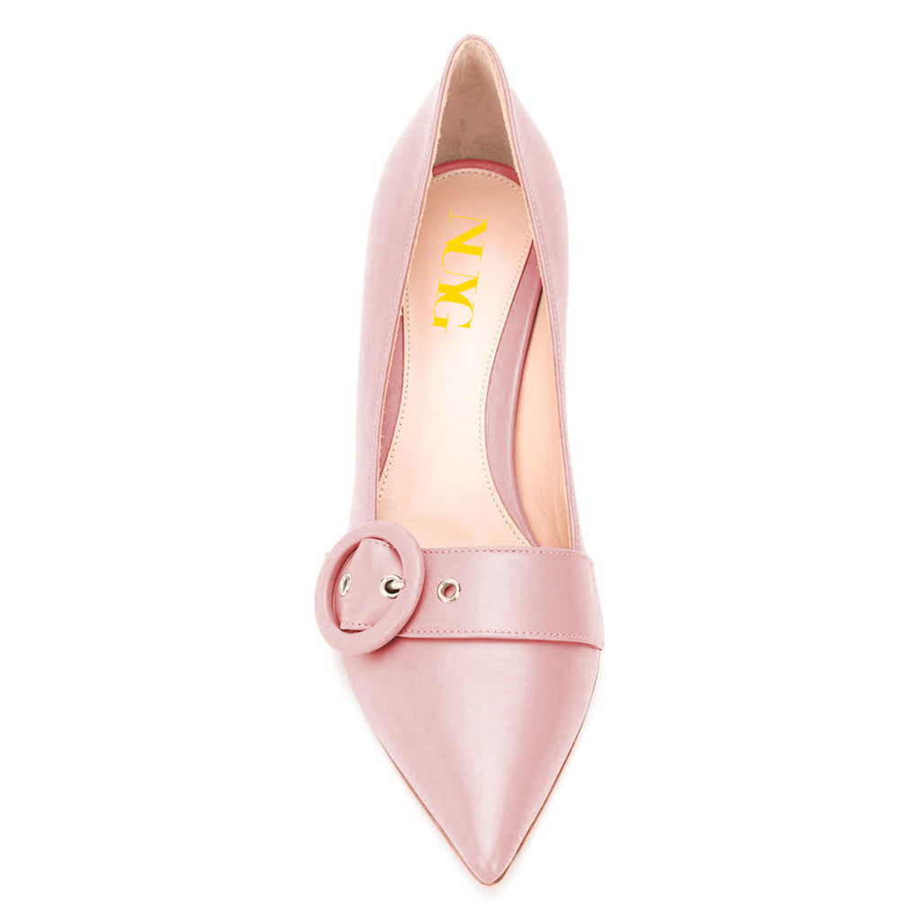 Pink Buckle Pointed Toe Chunky Heels Pumps