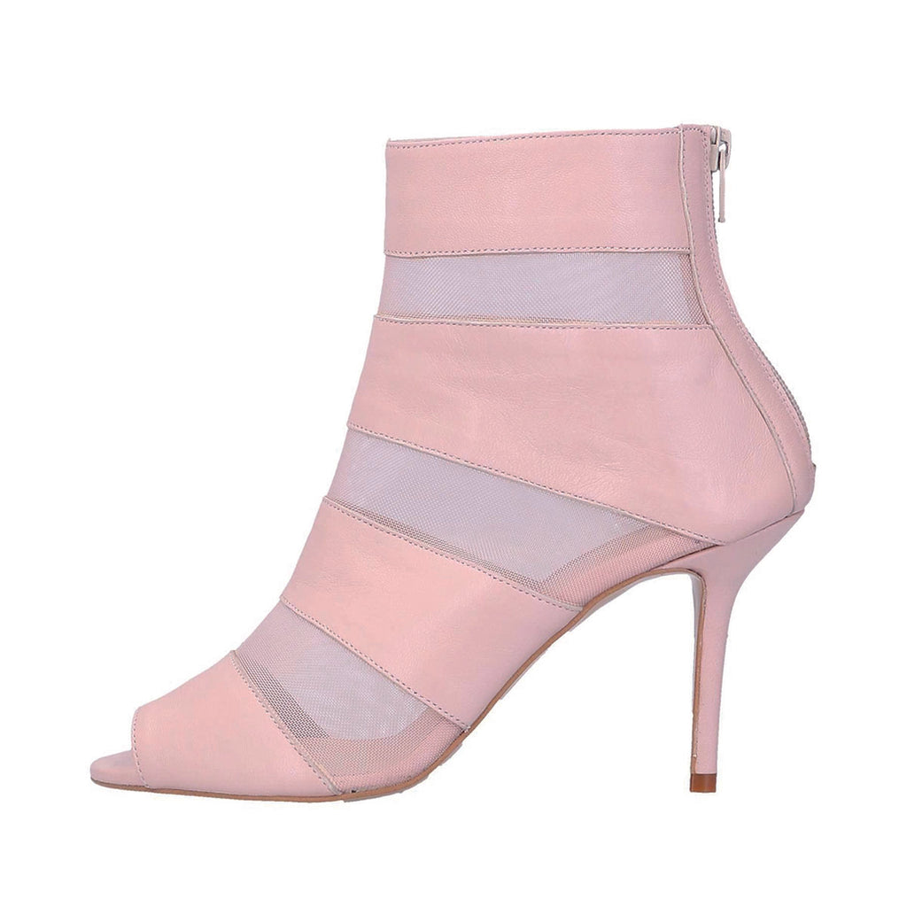 Pink Net Peep Toe Stiletto Heel Ankle Boots