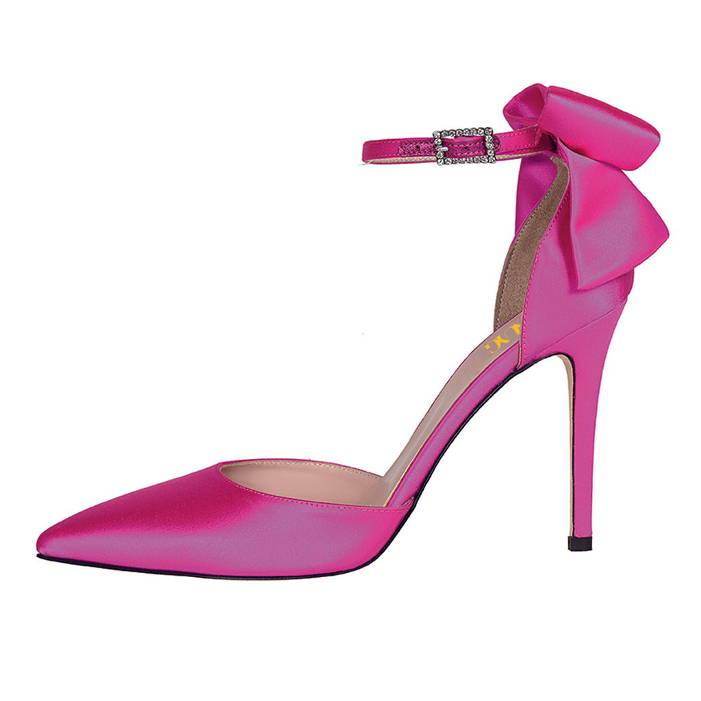 Pink Satin Cute Bow Pointed Toe Ankle Strap Stiletto Heel Pumps