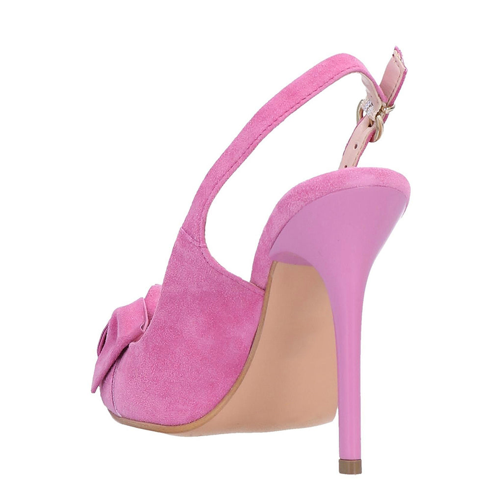 Pink Suede Bow Slingback Stiletto Heel Pumps
