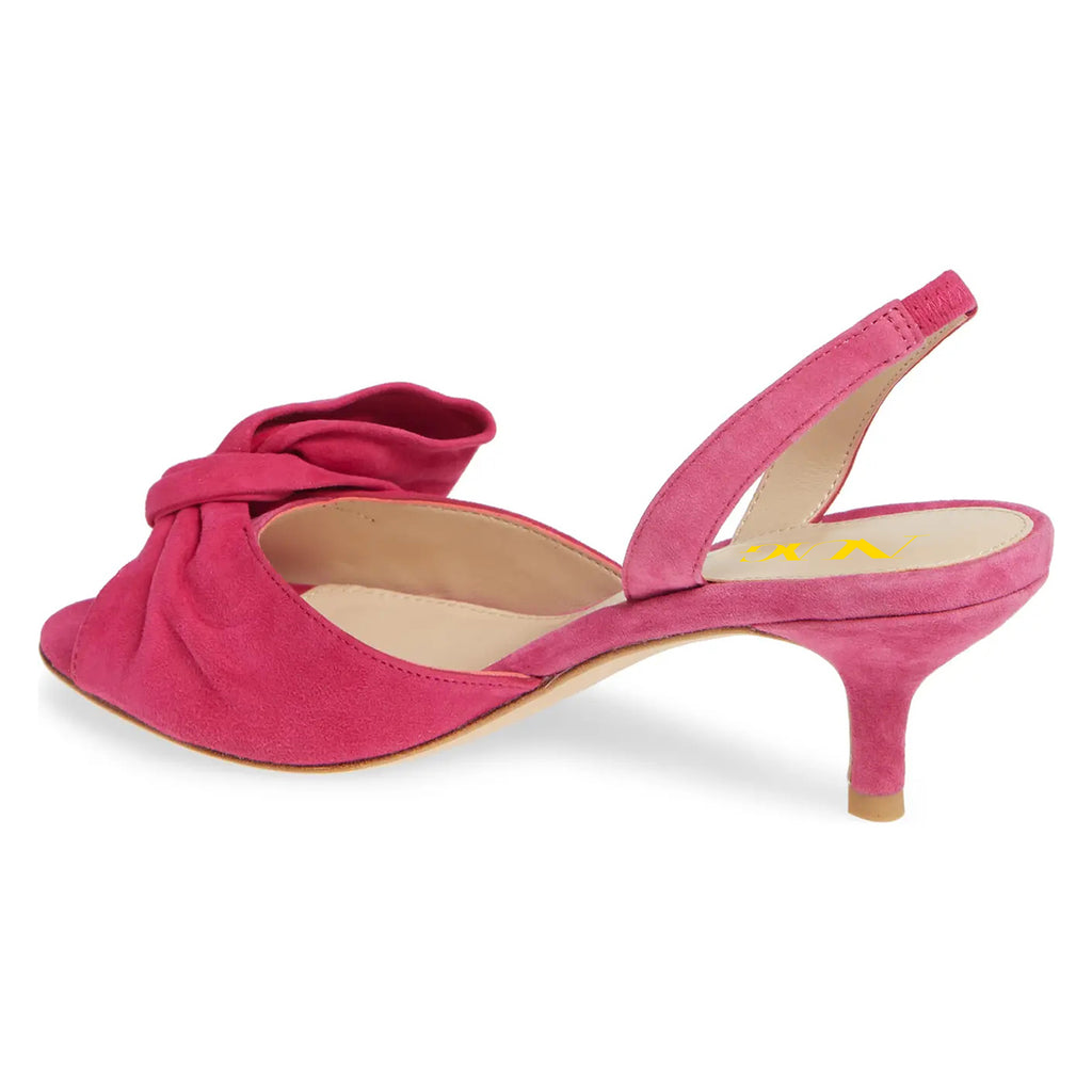 Pink Suede Bow Stiletto Heel Sandals