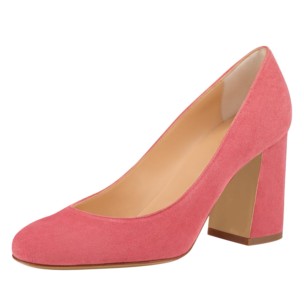 Pink Suede Round Toe Block Heel Pumps