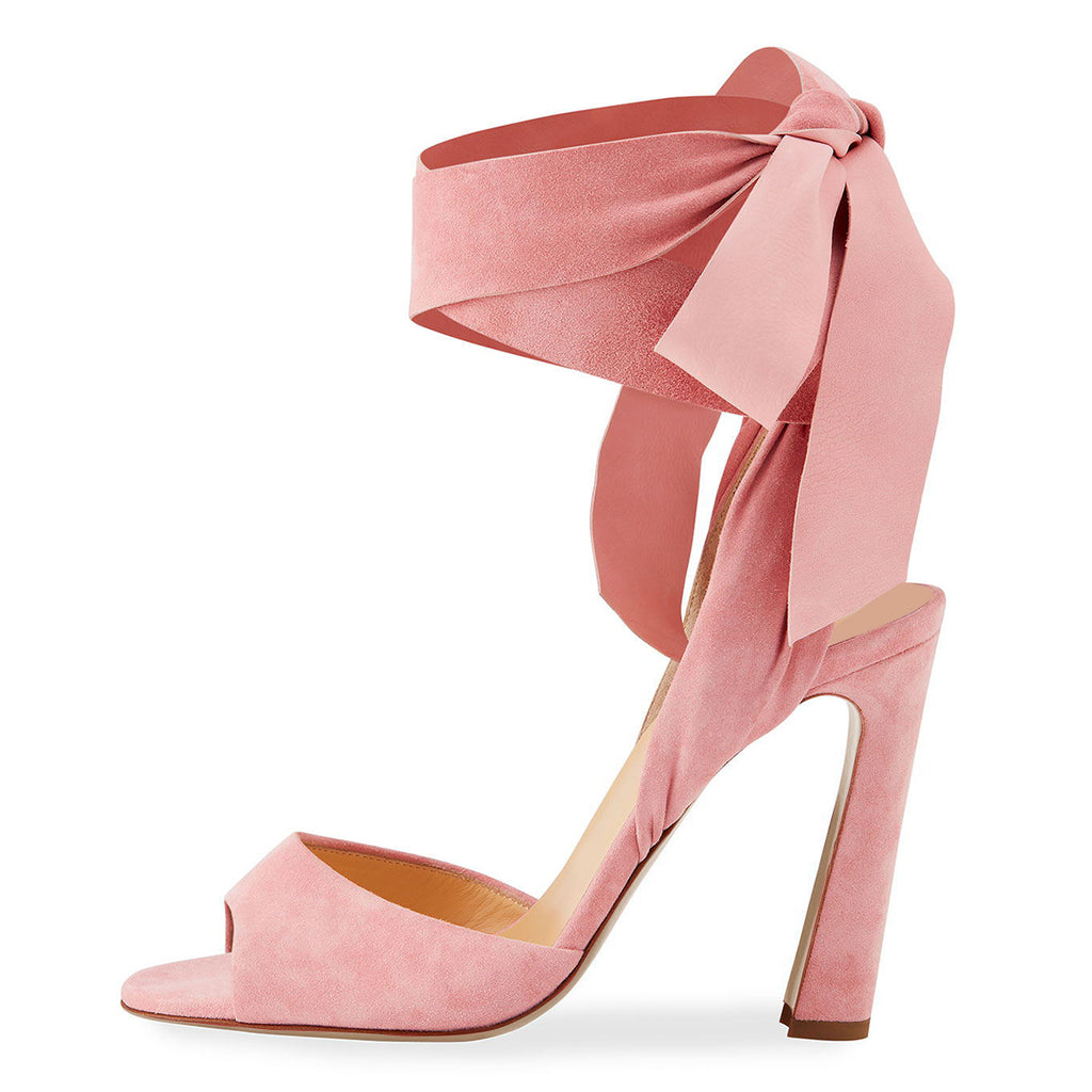 Pink Suede Strappy Open Toe Chunky Heel Sandals
