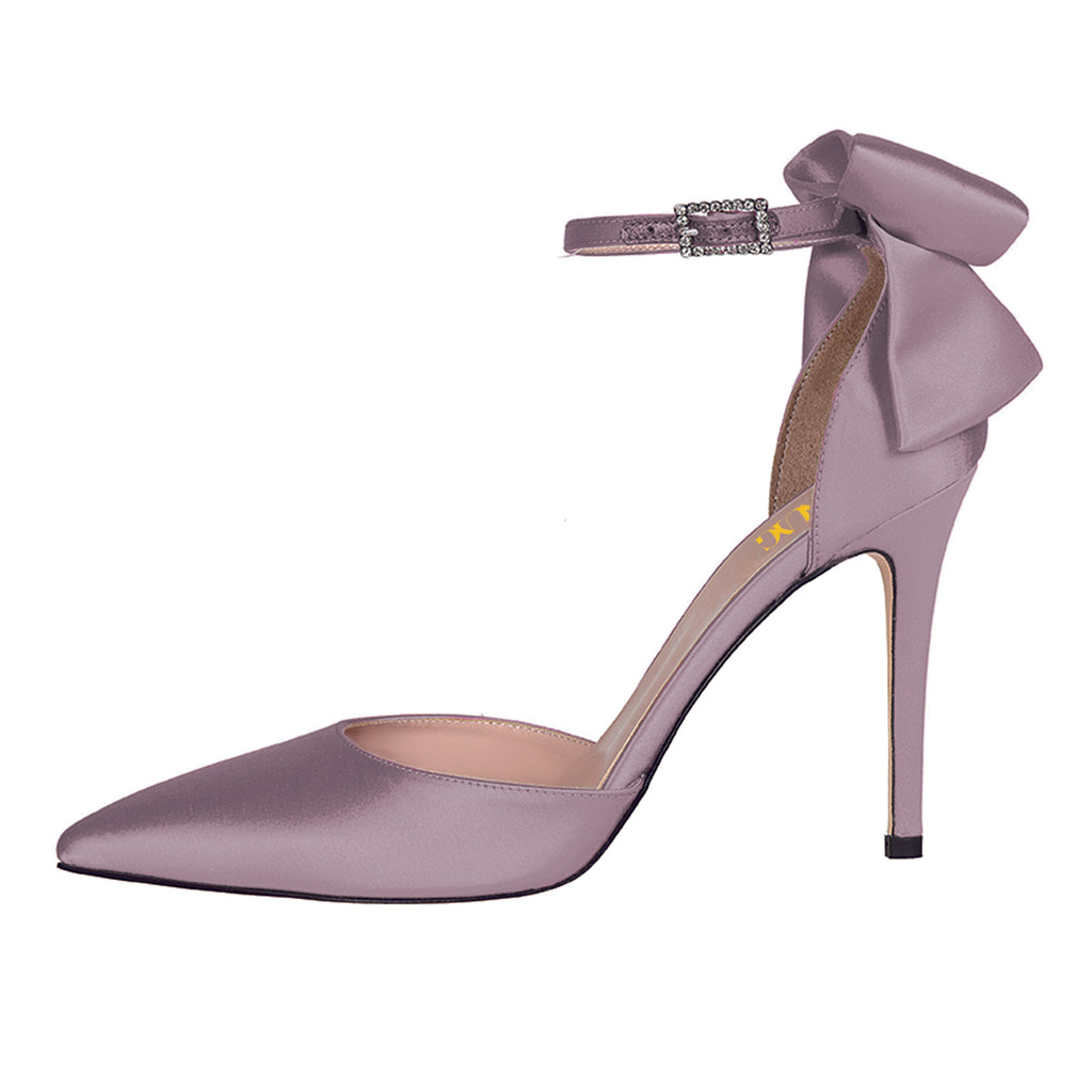 Purple Satin Cute Bow Pointed Toe Ankle Strap Stiletto Heel Pumps