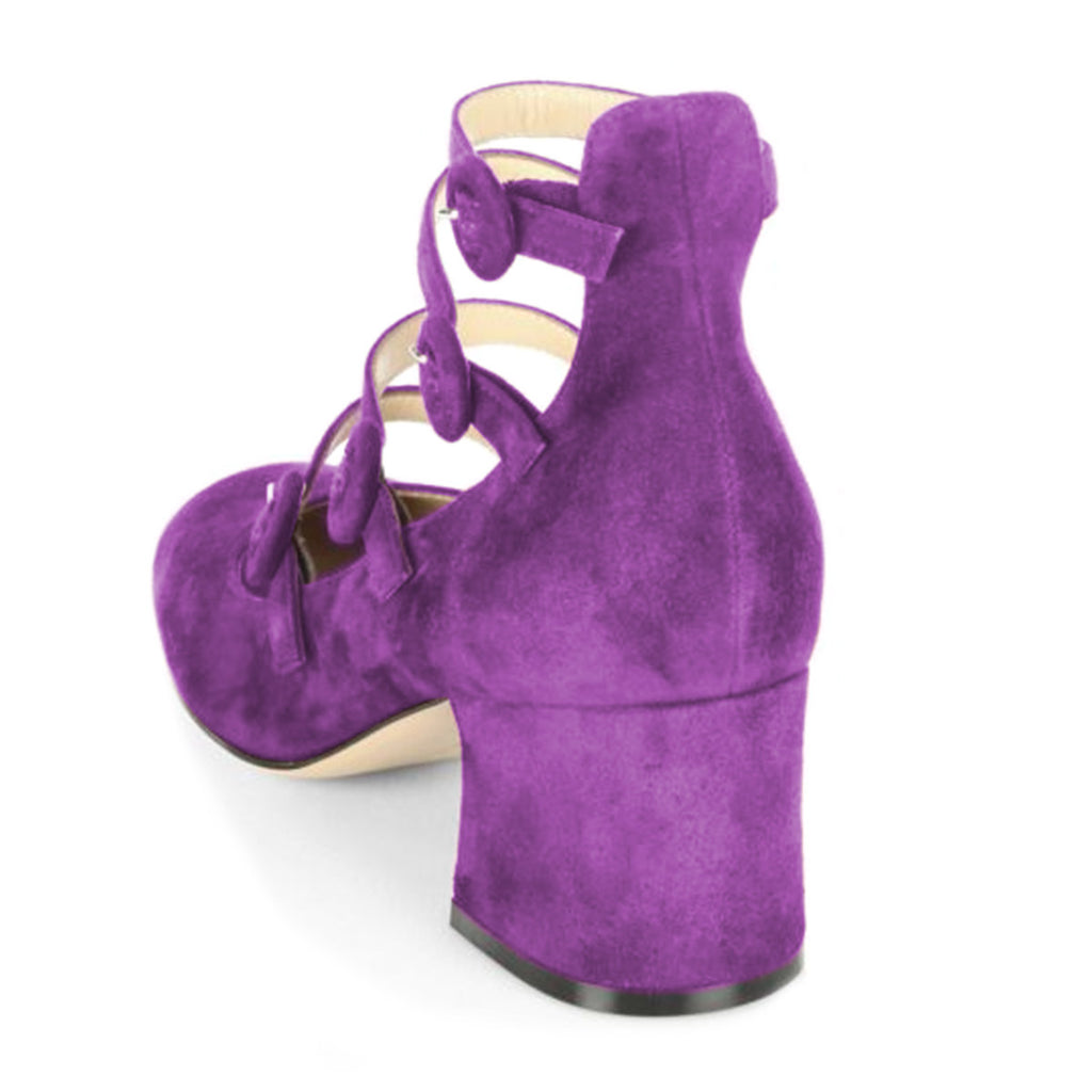Purple Suede Ankle Strap Block Heel Pumps