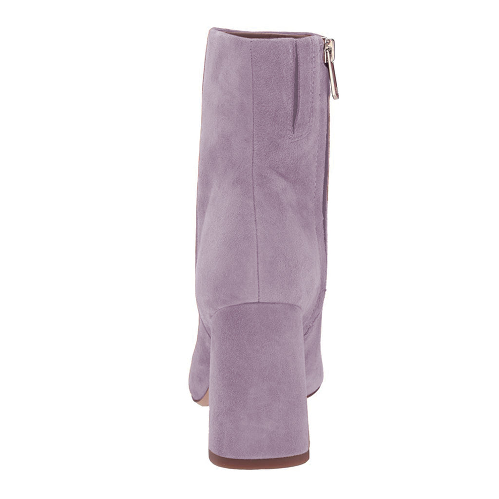 Light Purple Suede Chunky Heel Ankle Boots
