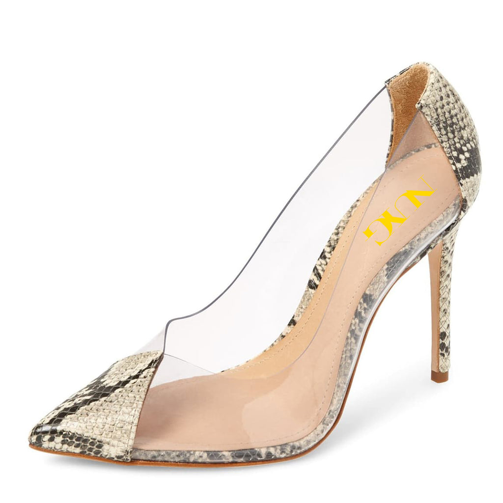 Python Clear PVC Pointy Toe Stiletto Heel Pumps