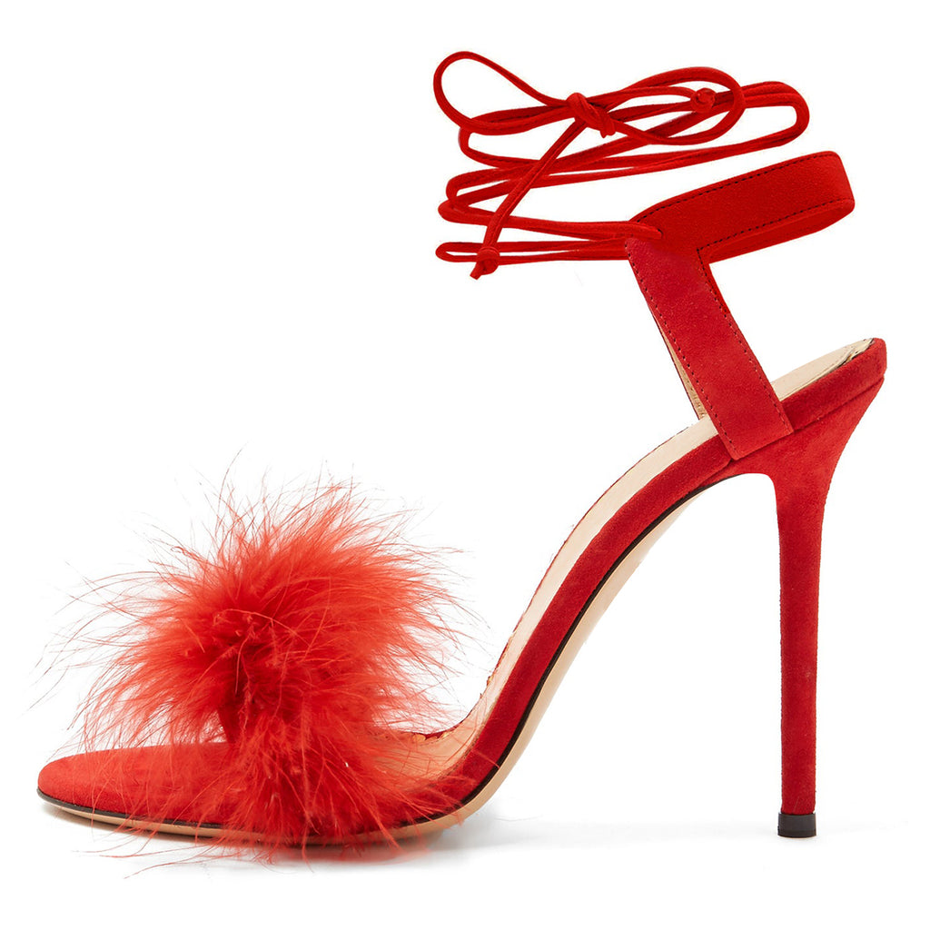 Red Fur Strappy Stiletto Heel Sandals