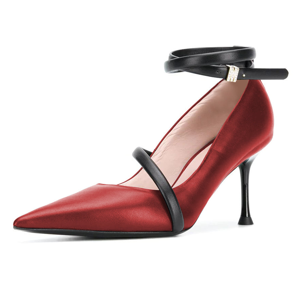 Red Office Pointed Toe Ankle Strap Stiletto Heel Pumps