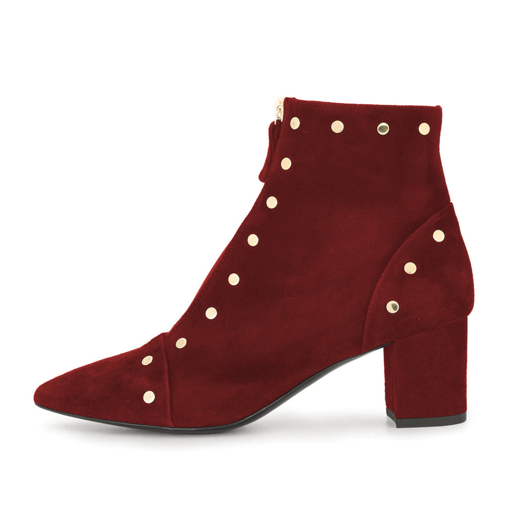 Red Suede Metal Zipper Block Heel Ankle Boots