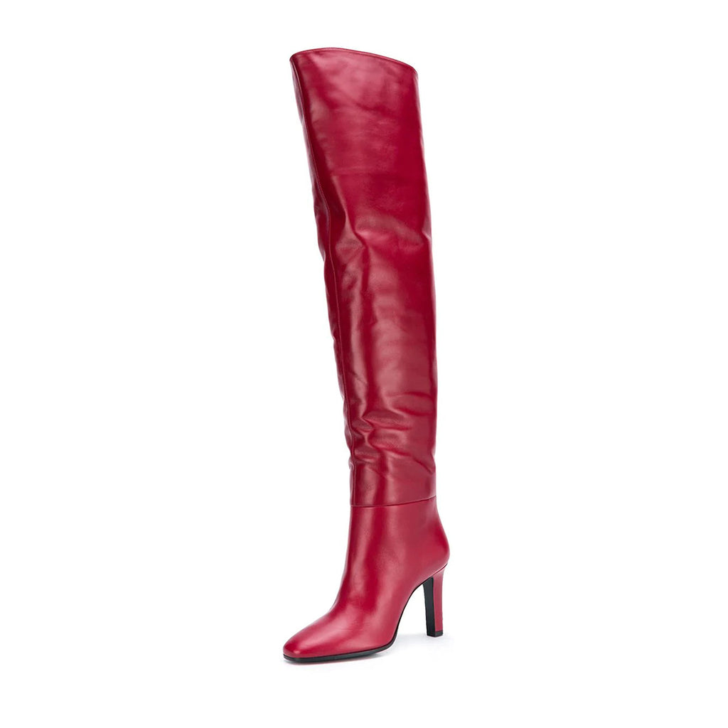 Red Thigh High Heel Boots Chunky Heel Long Boots
