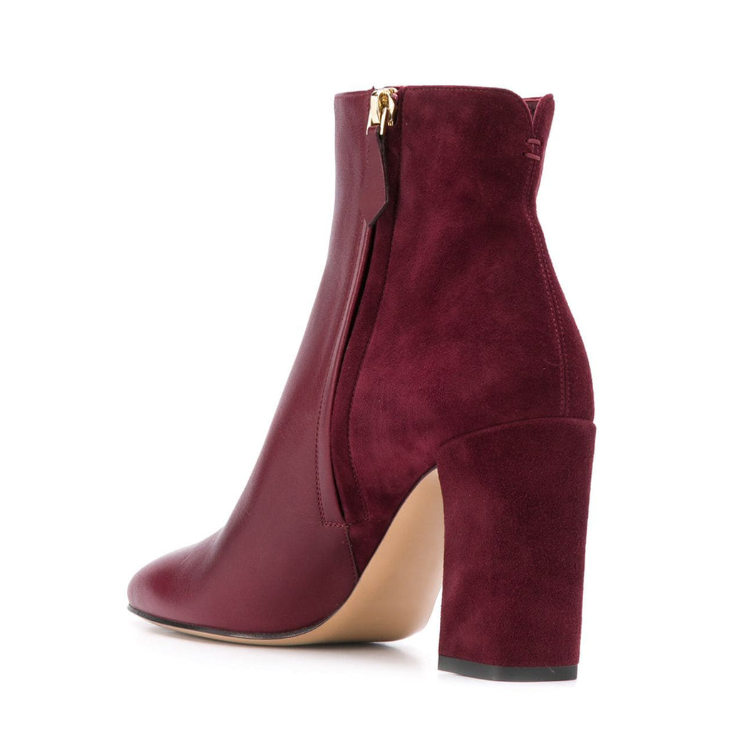 Red Vegan Leather and Suede Chunky Heel Ankle Boots