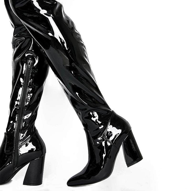 Patent Leather Chunky Heel Boots #2