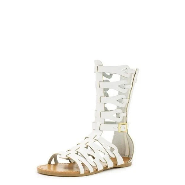 White Gladiator Buckle Flat Sandals