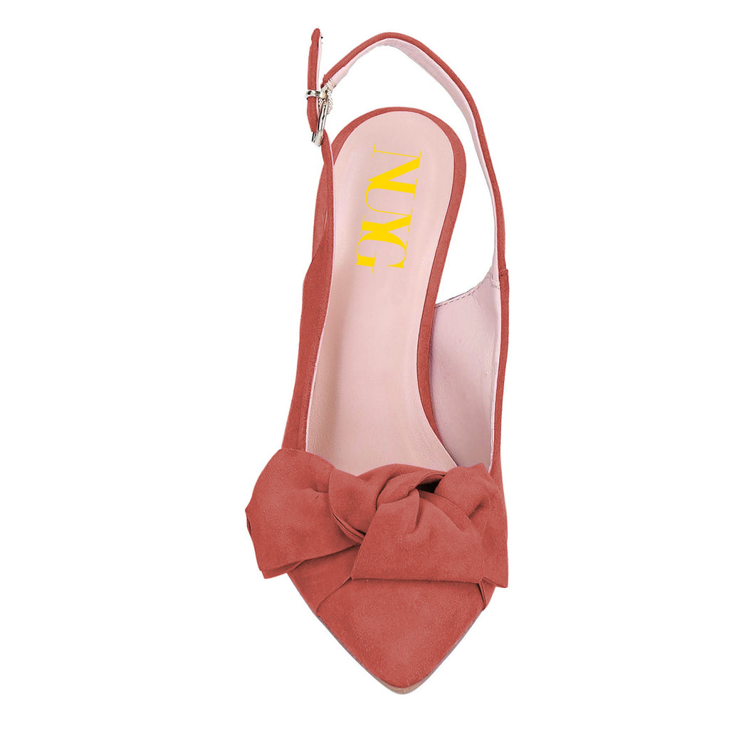 Salmon Suede Bow Slingback Stiletto Heel Pumps