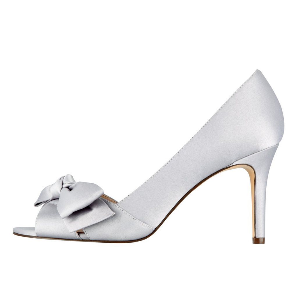 Silver Bow Peep Toe Stiletto Heel Sandals