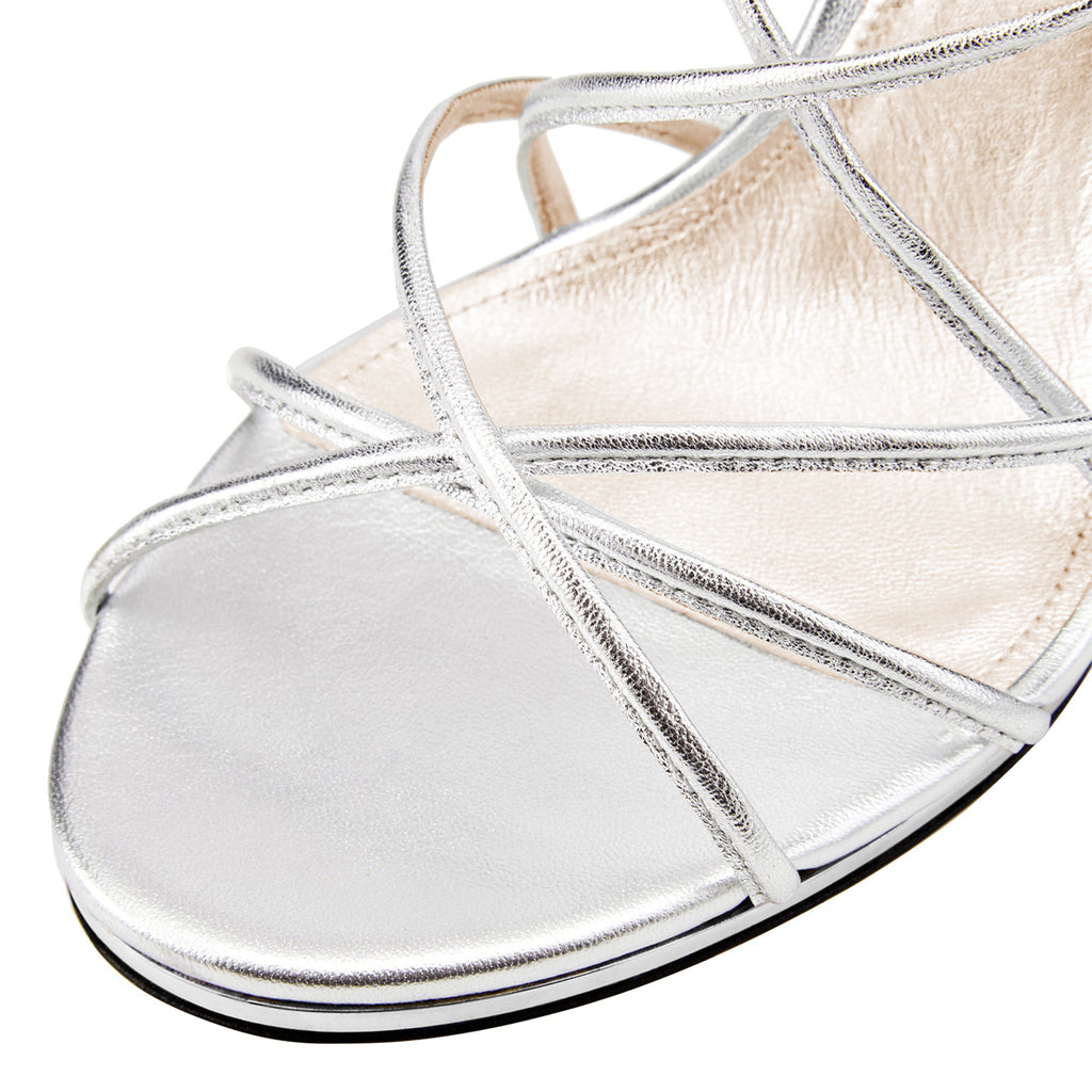 Silver Commuting Stiletto Heel Slingback Sandals