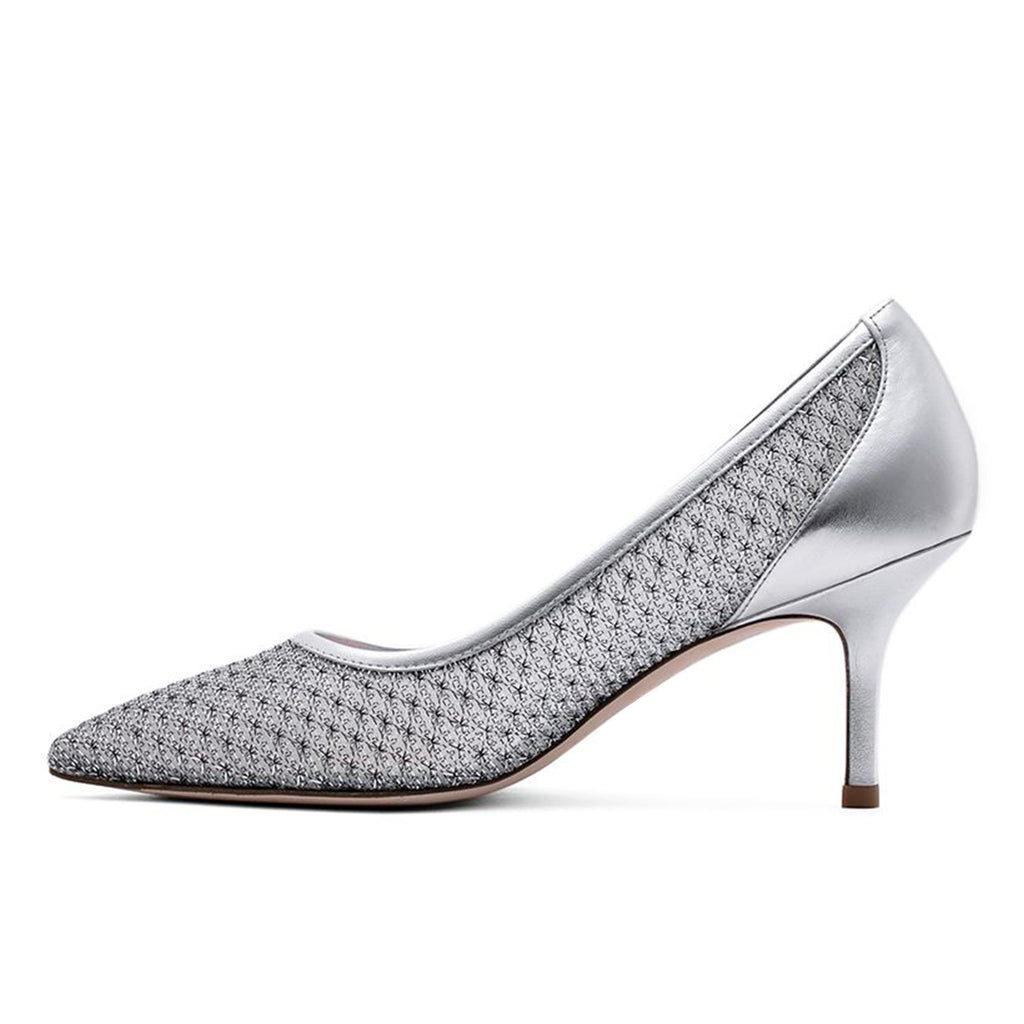 Silver Nets Pointy Toe Stiletto Heel Pumps