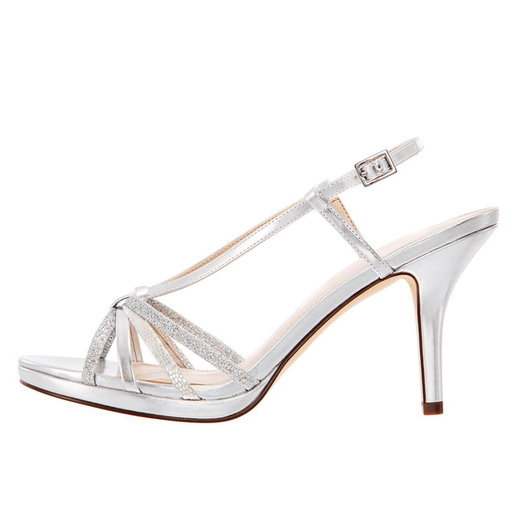 Silver Stiletto Heel Slingback Sandals