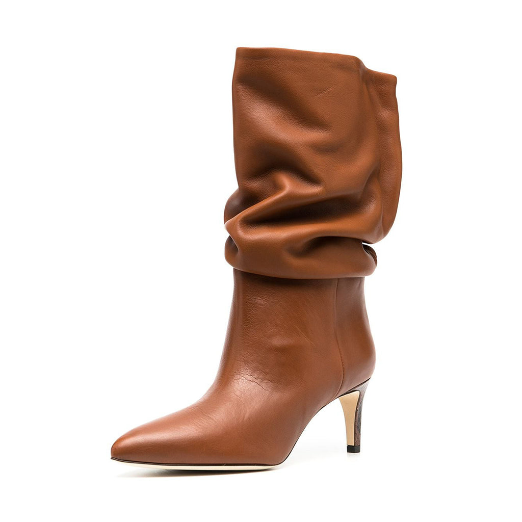 Tan Pointed Toe Matte Leather Mid-carf Boots