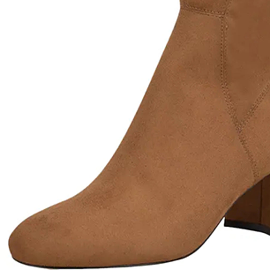 Tan Suede Block Heel Over-the-Knee High Boots