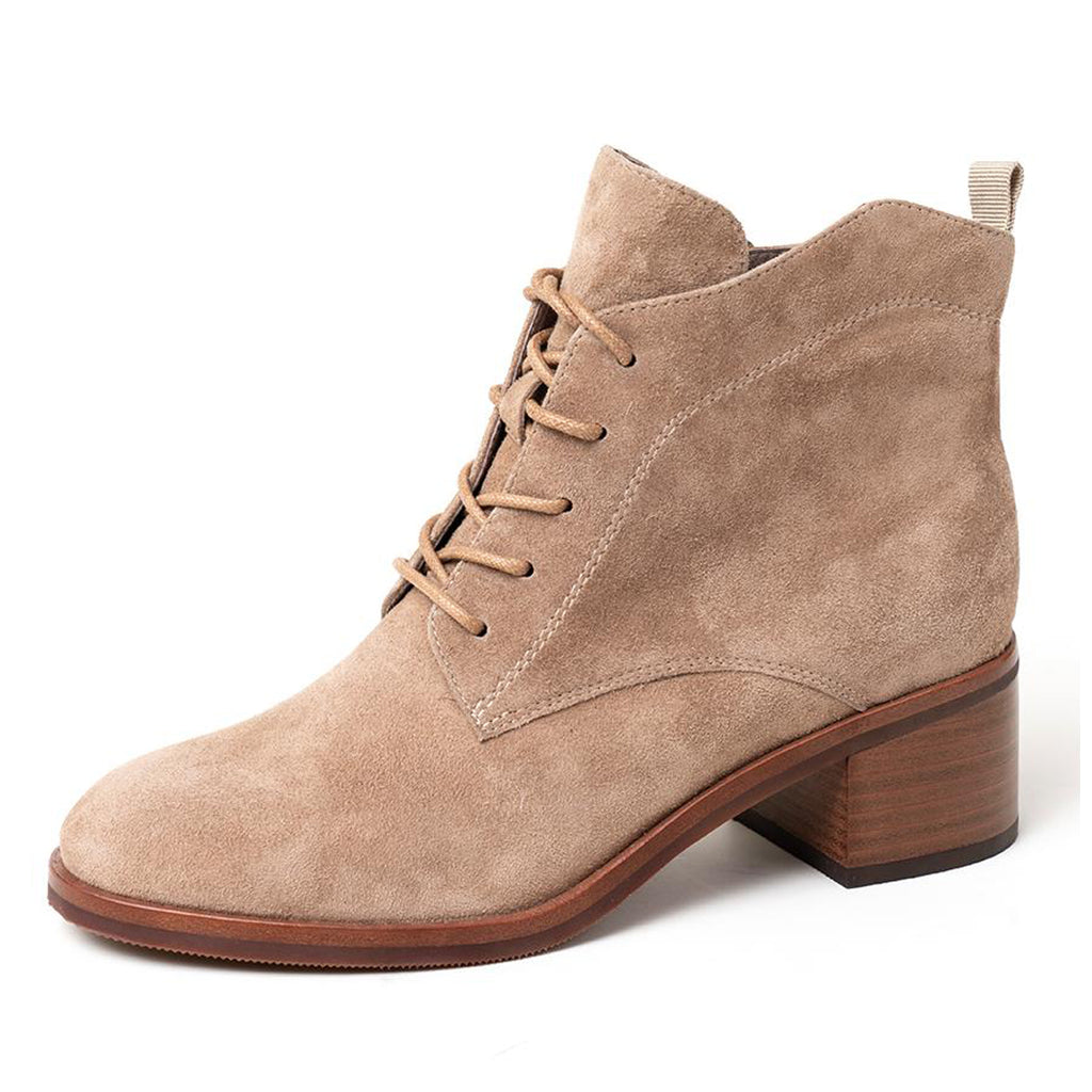 Tan Suede Lace Up Block Heel Ankle Boots