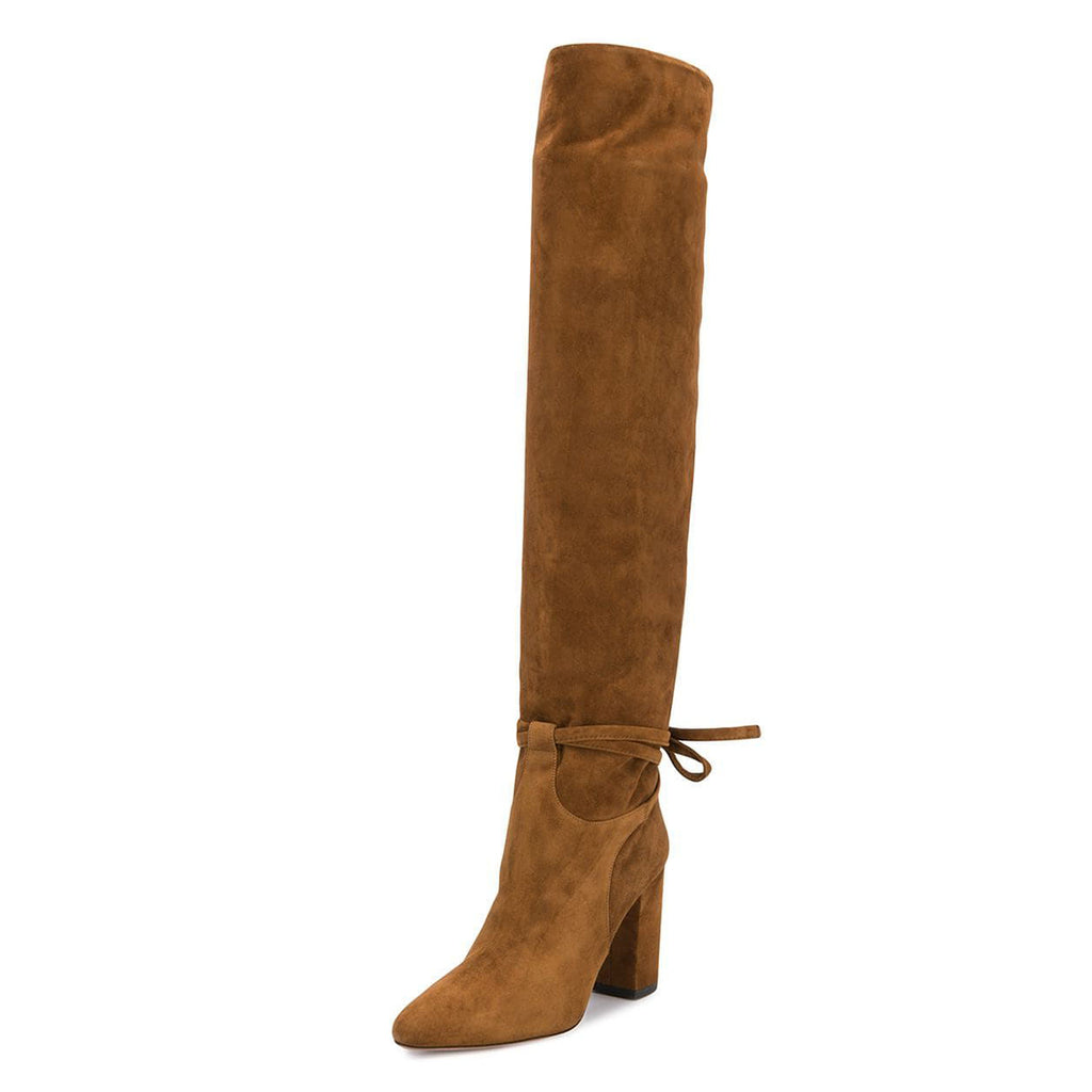 Tan Suede Strappy Chunky Heel Knee High Boots