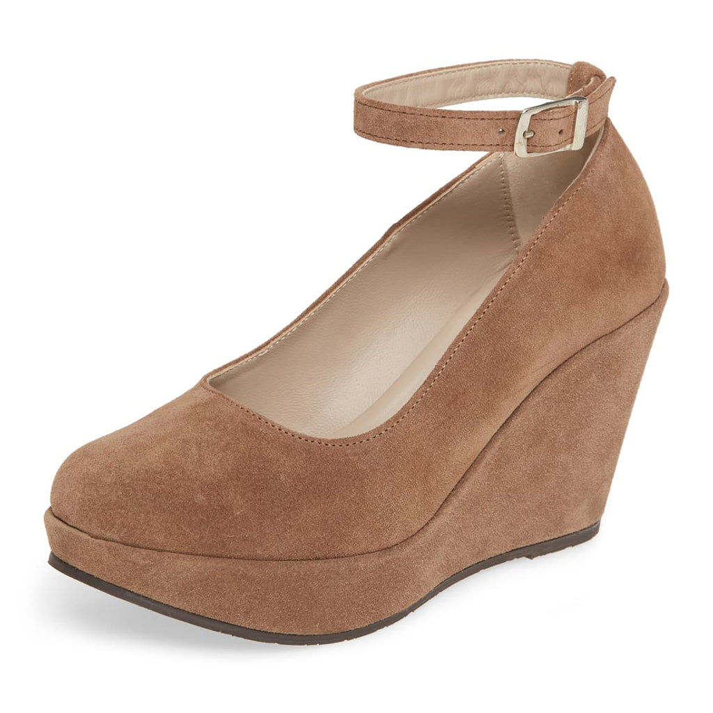 Tan Suede Wedges Ankle Strap Pumps