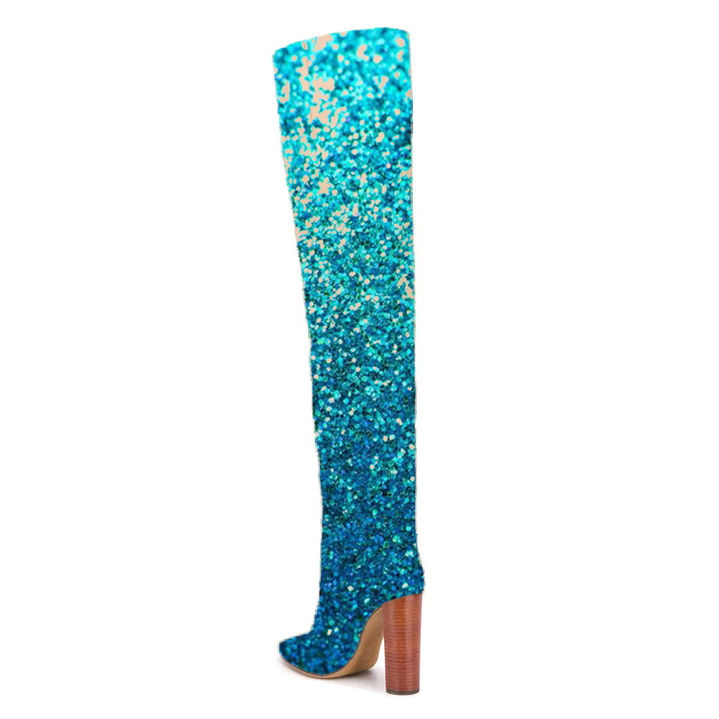 Turquoise Glitter Chunky Heel Knee High Boots