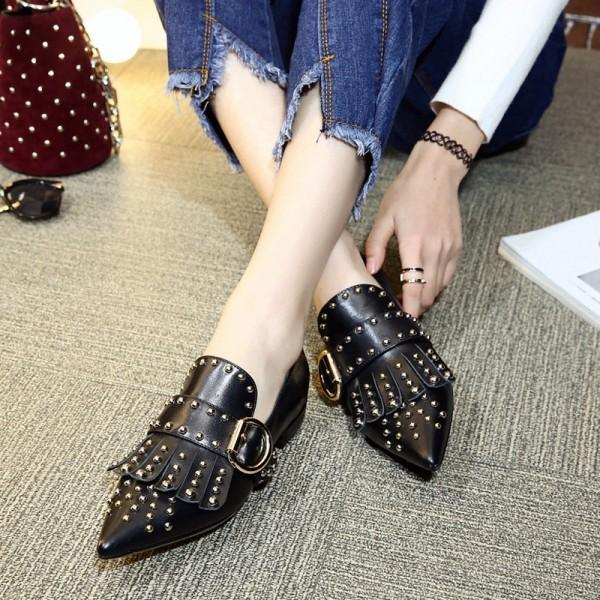 black-pointy-toe-flats-studded-fringe-vintage-shoes