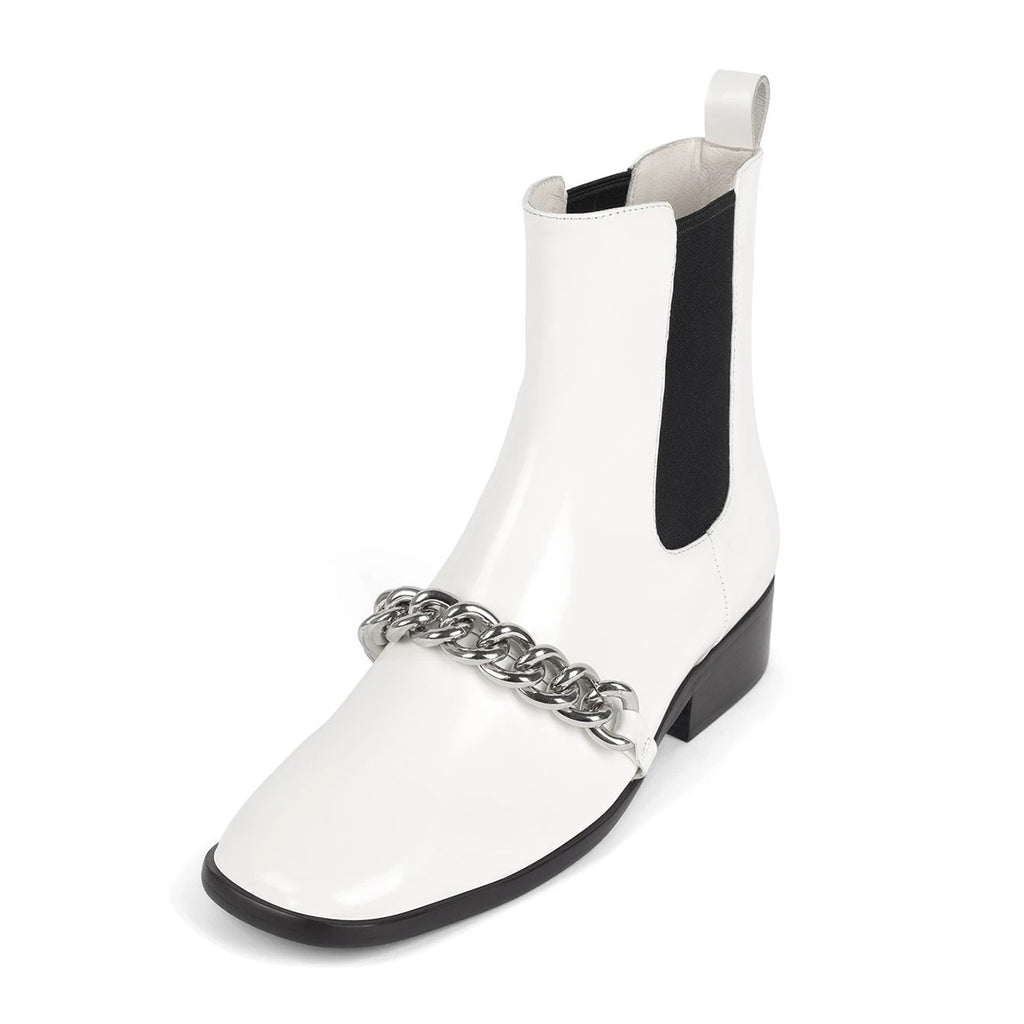 White Chain Mirror Leather Low Heel Ankle Boots