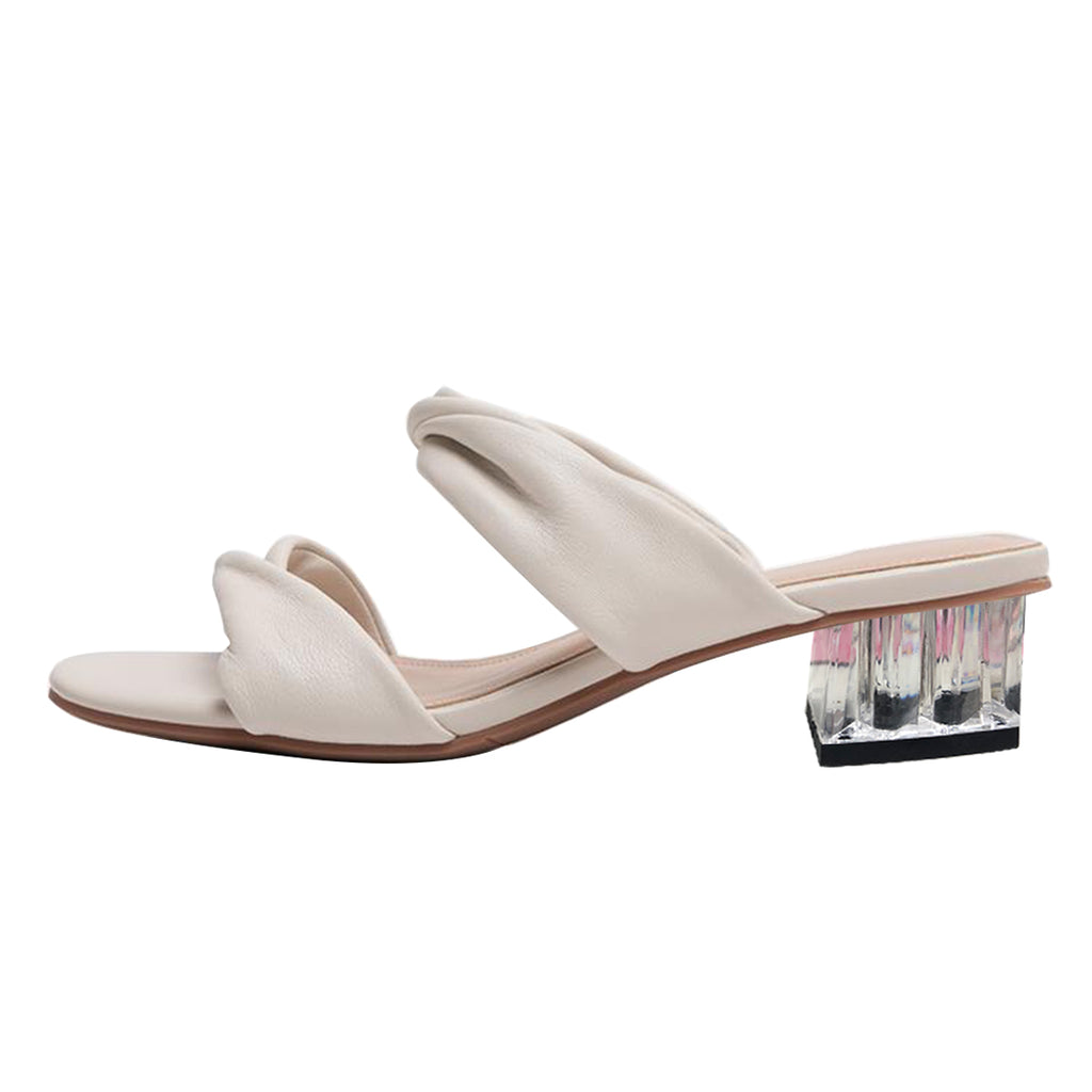 White Commuting Block Heel Mule Sandals